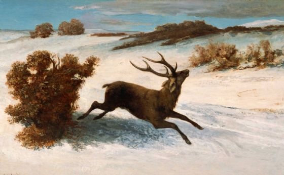 Courbet, Gustave: Deer Running in the Snow. Fine Art Print/Poster. (004138)